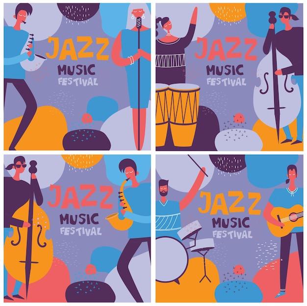 Colorido festival de jazz, músicos, cantantes y carteles de instrumentos musicales, conjunto de ilustración de vector plano aislado en el estilo plano
