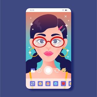 Colorido filtro de instagram con mujer