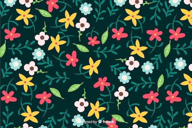 Colorido fondo con bonitas flores y diseño floral