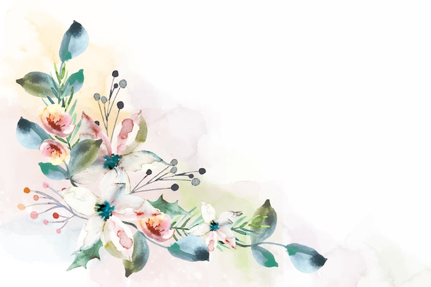 Colorido fondo floral acuarela