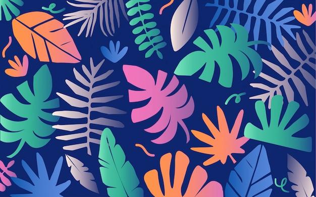 Colorido fondo de hojas de selva tropical