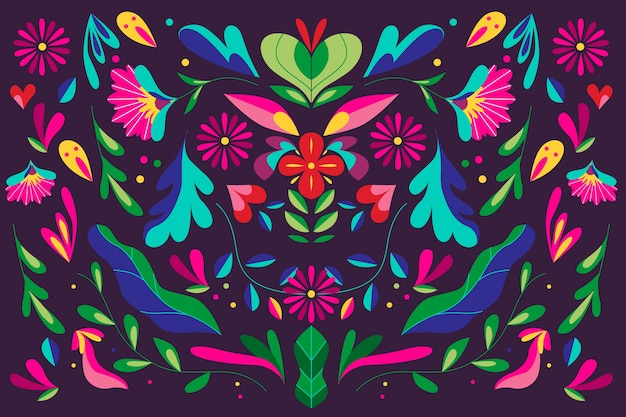 Colorido fondo mexicano con adornos florales