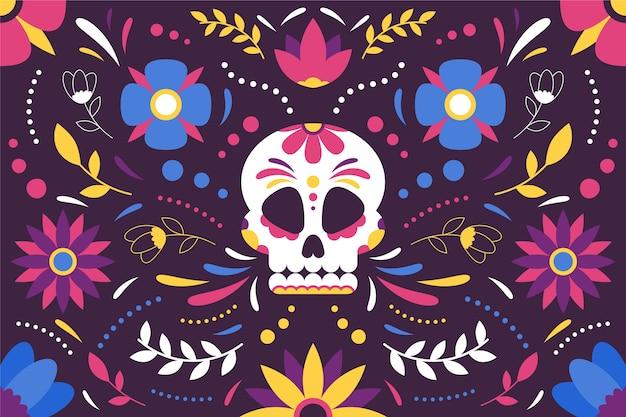 Colorido fondo mexicano con calavera