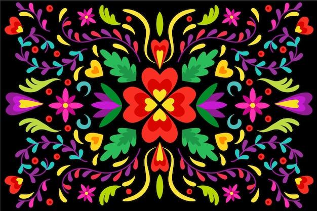 Colorido fondo mexicano en diseño plano