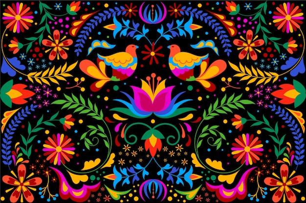 Colorido fondo mexicano con flores y pájaros