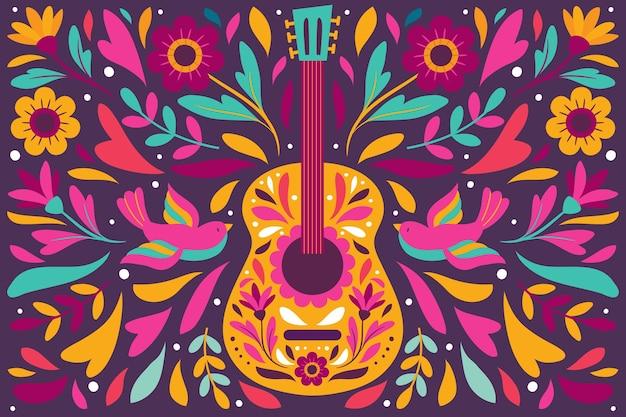 Colorido fondo mexicano con guitarra