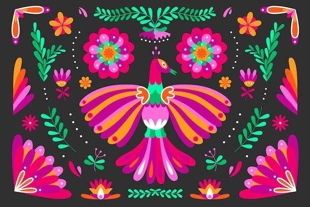 Colorido fondo mexicano con pájaro
