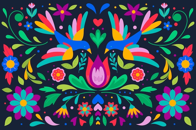 Colorido fondo mexicano con pájaros