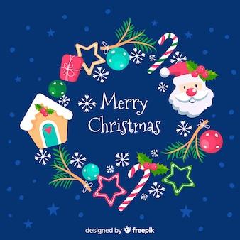 Colorido fondo de navidad en diseño plano