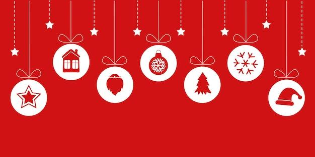 Colorido fondo de navidad horizontal con elementos colgantes en silueta sobre fondo rojo.