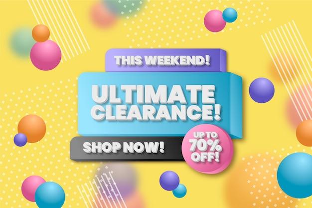 Colorido fondo de pantalla de ventas 3d