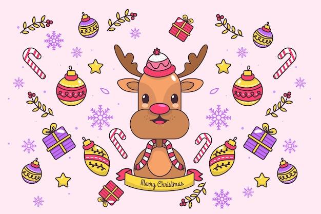 Colorido fondo de renos de navidad