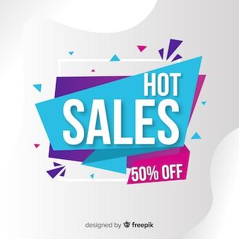 Colorido fondo de ventas estilo origami
