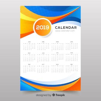 Colorido formas abstractas calendario 2019