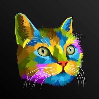 Colorido gato pop art retrato decoración premium