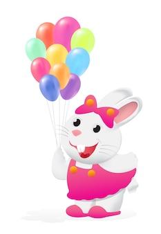 Colorido globo con el vector de conejito blanco