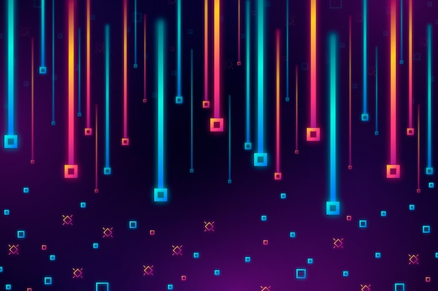 Colorido gradiente lluvia de cuadrados de fondo