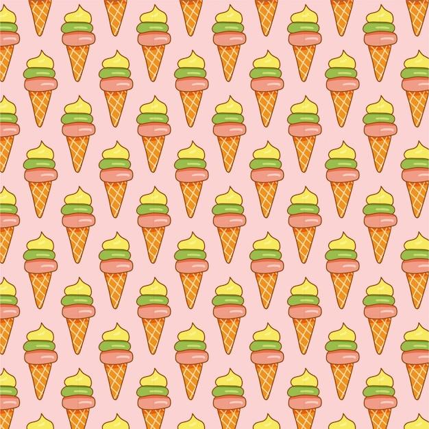 Colorido helado de patrones sin fisuras en rosa