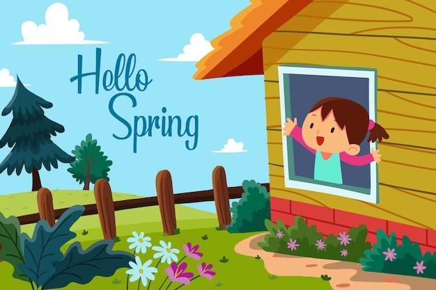 Colorido hola concepto de primavera