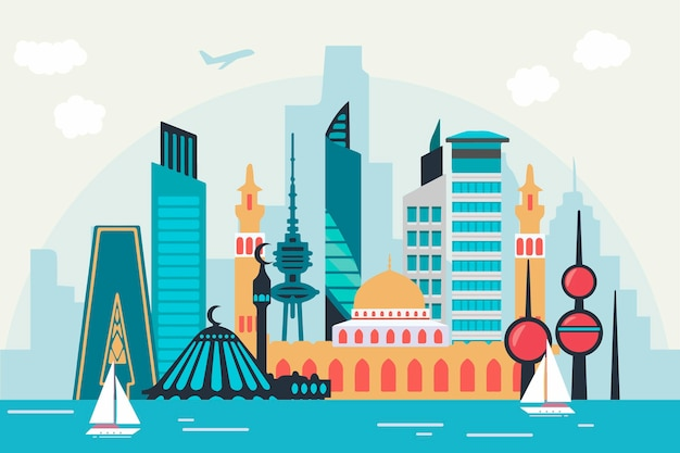 Colorido horizonte de kuwait
