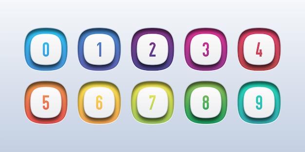 Colorido icono de botón 3d con número de viñeta