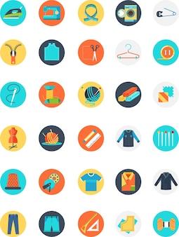 Colorido icono de sastre con muchos objetos y muchos tamaños