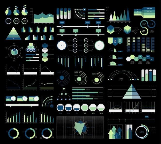Colorido infografía gráficos y diagramas ilustración