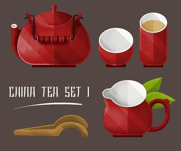 Colorido juego de utensilios de té