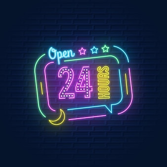 Colorido letrero de neón abierto las 24 horas.