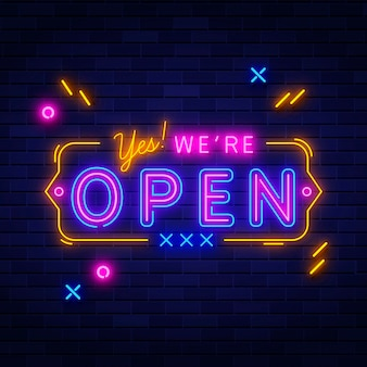 Colorido letrero de neón 'estamos abiertos'
