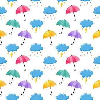 Colorido lindo bebé nube de patrones sin fisuras paraguas, lluvia y relámpagos