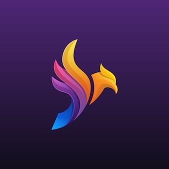 Colorido logo de fénix o águila
