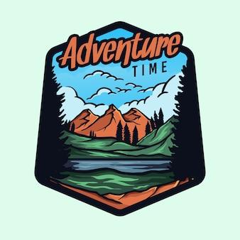 Colorido logotipo de la insignia de hora de aventura