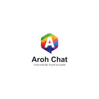 Colorido logotipo de la letra a en burbuja de texto