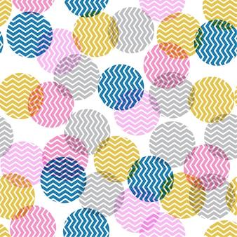 Colorido lunares en forma de zigzag dentro de inconsútil
