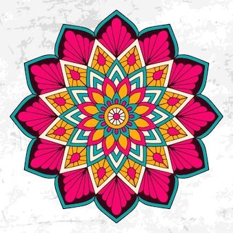 Colorido mandala con adornos florales