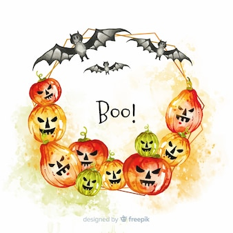 Colorido marco de halloween de acuarela