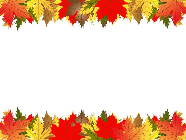Colorido marco de hojas de arce naranja y rojo aislado en blanco