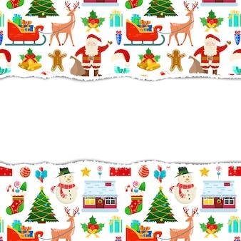 Colorido marco de navidad con fondo blanco.