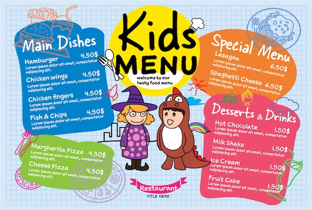 Colorido menú de comida para niños para el restaurante