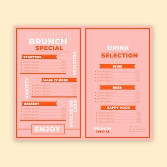 Colorido menú de restaurante con brunch especial