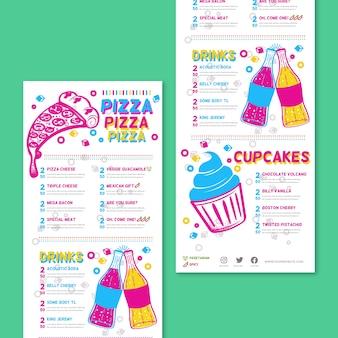 Colorido menú de restaurante con pizza