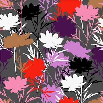 Colorido moderno prado silueta flor de patrones sin fisuras en vector, diseño para moda, tela, envoltura, papel tapiz y todas las impresiones
