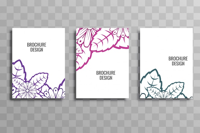 Colorido negocio folleto plantilla floral set vector