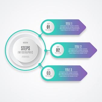Colorido negocio paso infografía