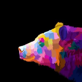 Colorido oso pop art retrato creativo ilustraciones