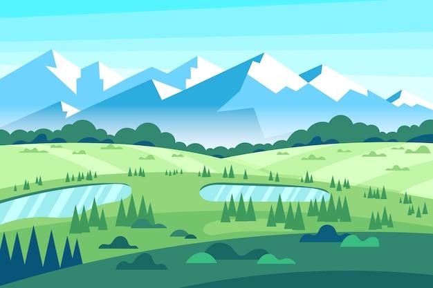 Colorido paisaje de primavera plana