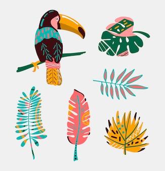 Colorido pájaro tropical con hojas.