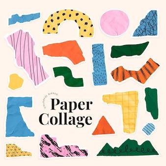 Colorido papel rasgado collage vector fondo beige