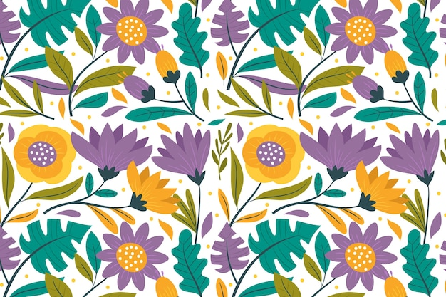 Colorido papel tapiz floral exótico